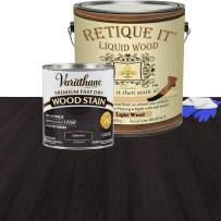 Retique It Liquid Wood - Gallon Light Wood with Ebony Stain - Stainable Wood Fiber Paint - Put a fresh coat of wood on it (128oz LW, Ebony)