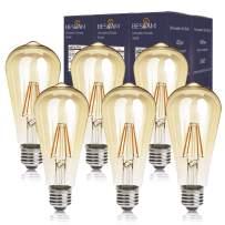 BESLAM 5.5W LED Vintage Light Dimmable Antique LED Bulbs Amber Glass LED Edison Bulbs Squirrel Cage Filament Bulbs, ST64 (ST19) E26 Medium Screw Base, 60W Equivalent, 550 Lumens, 2200K Warm Glow