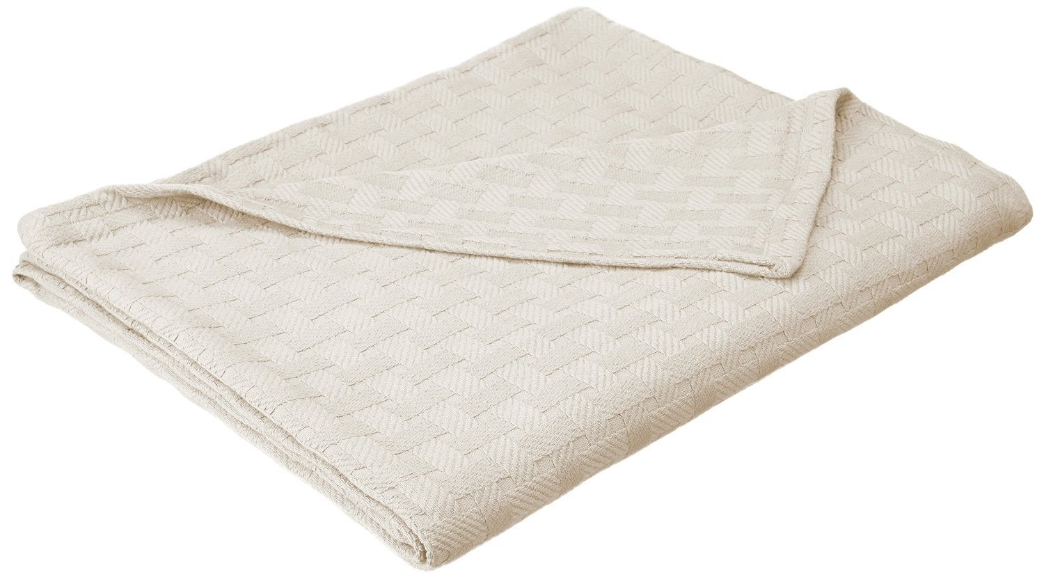 Cotton Blanket, Soft & Cozy, Woven, All-Season Throw, Breathable, Medium Weight, Picnic, Beach, Traveling, Camping, Thermal Blanket, Basket Weave Pattern, Twin, Ivory