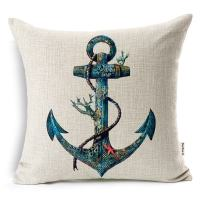 VOGOL Cotton Linen Throw Pillow Case Cushion Cover, Nautical Anchor Sailing Map,18 X 18-Inch for Bedding Sofa Chair Car Seat