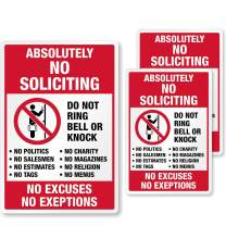 "SmartSign Absolutely No Soliciting Stickers, No Excuses No Exceptions Do Not Ring Bell Knock Decals Set, Pack of 3, One 3.75""x5.5"" & Two 2.75""x4""