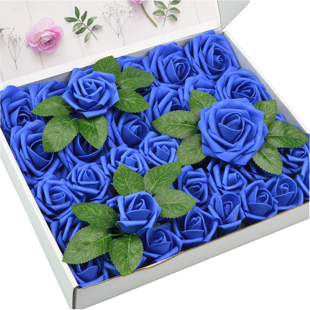 DerBlue 60pcs Three Different Sizes Artificial Roses Flowers Foam Roses Bulk w/Stem for DIY Wedding Bouquets Corsages Centerpieces Arrangements Baby Shower Cake Flower Decorations(Royal Blue)