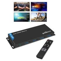 gofanco 4K 4x4 HDMI Matrix Switcher with IR and RS 232 Control – Up to 4K @30Hz, 3D, HDMI 1.4, HDCP 2.2, TrueHD, DTS Audio, EDID, 4 Input 4 Output, Firmware Upgradable (Matrix44v2)