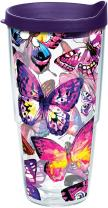 Tervis 1284669 Butterfly Passion Tumbler with Wrap and Royal Purple Lid 24oz, Clear