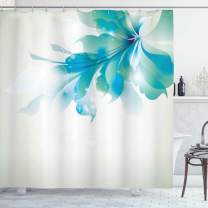 """Ambesonne Abstract Shower Curtain, Big Single Abstract Blue Shades Ombre Flowers Artwork, Cloth Fabric Bathroom Decor Set with Hooks, 75"""" Long, Eggshell Turquoise"""