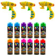 Toysery Party String Blaster Guns 3 Pack, Great Child Toys Party Accessory, Non-Toxic Blaster is a for Small and Big Hands for Easy use - 12 Streamer Spray String