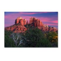 Sedona Cathedral Rock Dusk by Mike Jones Photo, 12x19-Inch Canvas Wall Art