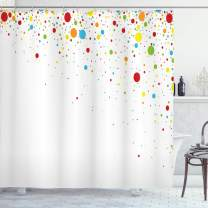 "Ambesonne Colorful Shower Curtain, Small Dots Like Party Celebration Print on White Backdrop Retro Style Art, Cloth Fabric Bathroom Decor Set with Hooks, 75"" Long, White Red"