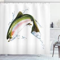 """Ambesonne Fish Shower Curtain, Salmon Jumping Out of Water Making Splashes Cartoon Design Photorealistic Airbrush, Cloth Fabric Bathroom Decor Set with Hooks, 70"""" Long, White Green"""