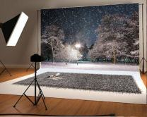 Laeacco Vinyl 7x5ft Photography Background Beautiful Heavey Snow Night Scenery Pine Trees Road Lamp Snowing Scene Romantic Park Theme Backdrops Portraits Shooting Video Studio Props 2.2x1.5m