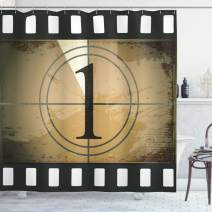 """Ambesonne Movie Theater Shower Curtain, Grunge Countdown Frame with Number in a Circle Film Strip, Cloth Fabric Bathroom Decor Set with Hooks, 84"""" Long Extra, Brown Black"""