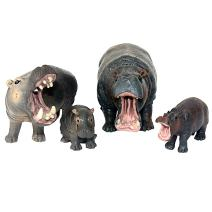 Funshowcase African Jungle Animals Toy Hippos Hippopotamus Figure Realistic Plastic Figurine Playset Lot 4-piece