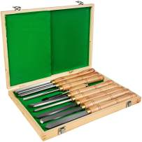 Mophorn Lathe Chisel 8 Piece Wood Lathe Chisel Cutting Carving HSS Steel Blades Wood Turning Tools Lathe Chisel Set Wooden Case for Storage for Wood Turning Hardwood One Free Chisel