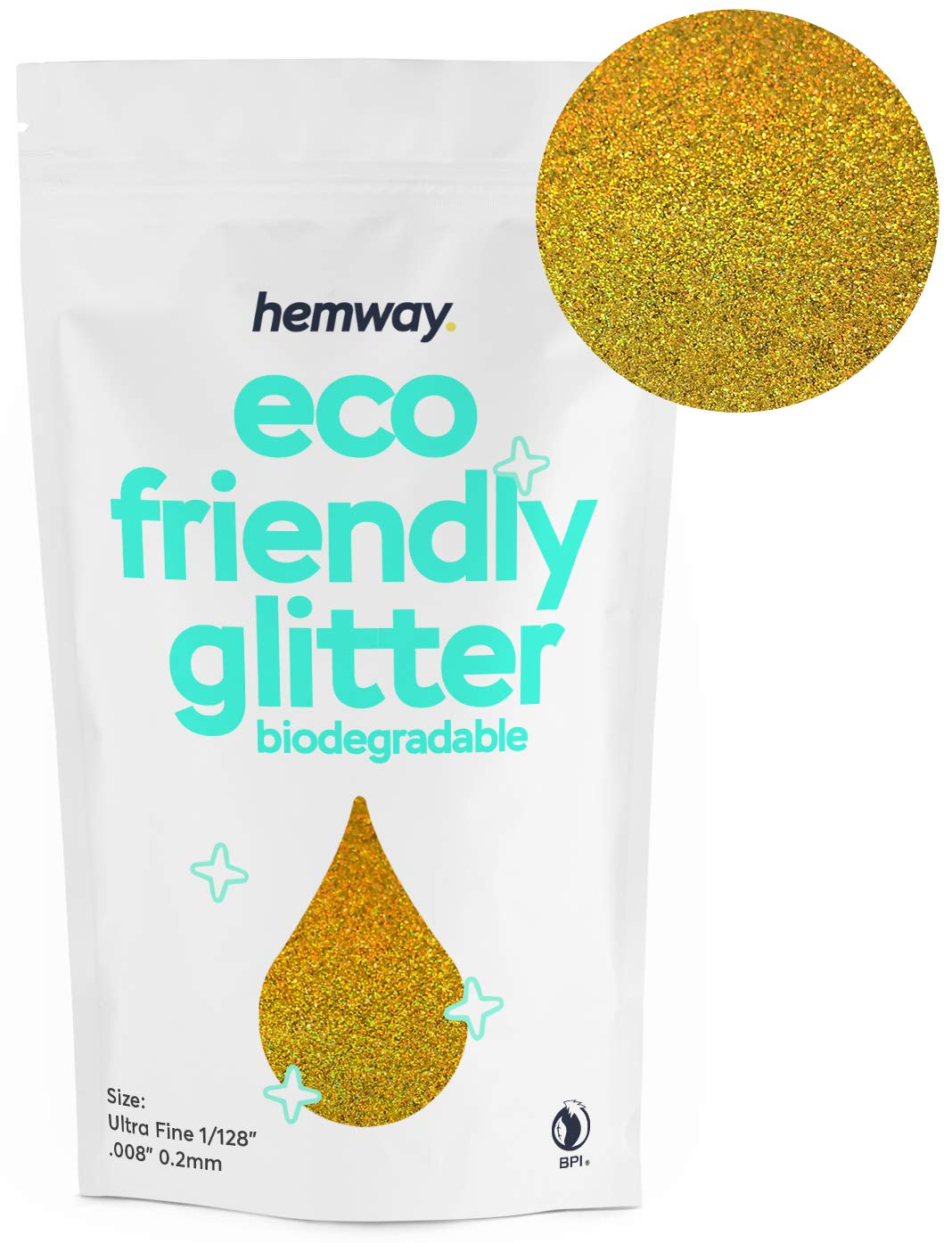 """Hemway Eco Friendly Biodegradable Glitter 100g / 3.5oz Bio Cosmetic Safe Sparkle Vegan for Face, Eyeshadow, Body, Hair, Nail and Festival Makeup, Craft - 1/128"""" 0.008"""" 0.2mm - Gold Holographic"""