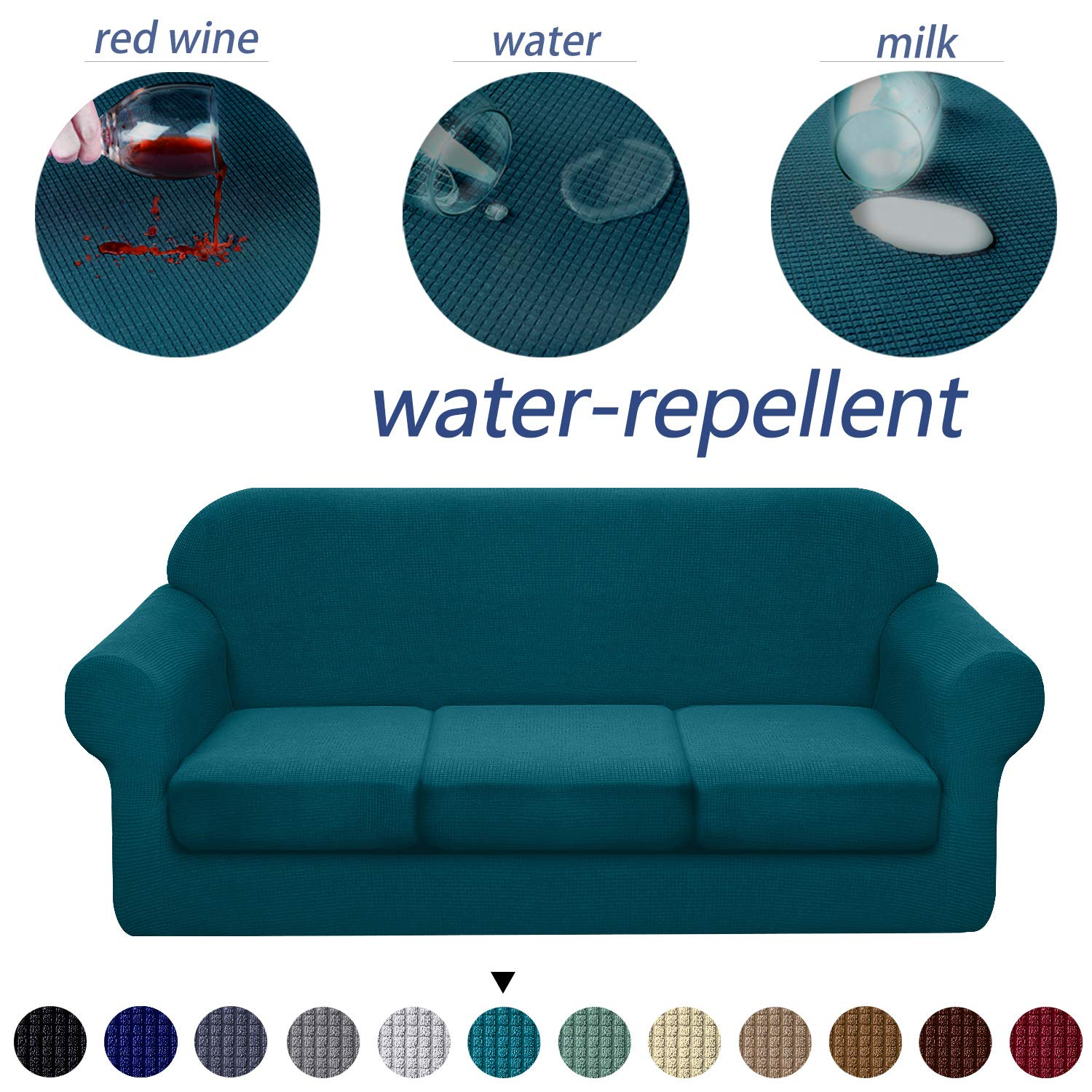 Granbest 4 Piece Premium Water-Repellent Sofa Slipcover for 3 Cushion Couch High Stretch Sofa Cover for 3 Seat Sofa Super Soft Fabric Couch Cover for Dogs Pets Furniture Cover (Large, Blackish Green)