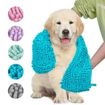 Dociote Dog Towel Ultra Absorbent Super Shammy with Hand Pockets, Quick Dry Soft Microfiber Chenille Material Pet Bath Towels for Large, Medium, Small Dogs and Cats - Durable 33.5 x 23.5 inches
