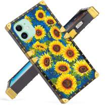 For iPhone 11 6.1 Inch Case 2019 Release Luxury Sunflower Square Soft TPU Wrapped Edges and Hard PC Back Stylish Classic Retro Cover