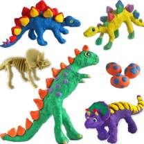 Create 6 Dinosaurs Kids Craft Kit with Dino Scale Stamp and Non Drying Modeling Clay - Dinosaur Gifts Arts and Crafts for Boys Girls Age 5 6 7 8 Year Old