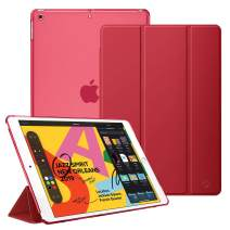 """Fintie Case for New iPad 7th Generation 10.2 Inch 2019 - Lightweight Slim Shell Stand with Translucent Frosted Back Cover Supports Auto Wake/Sleep for iPad 10.2"""" 2019 Tablet, Red"""