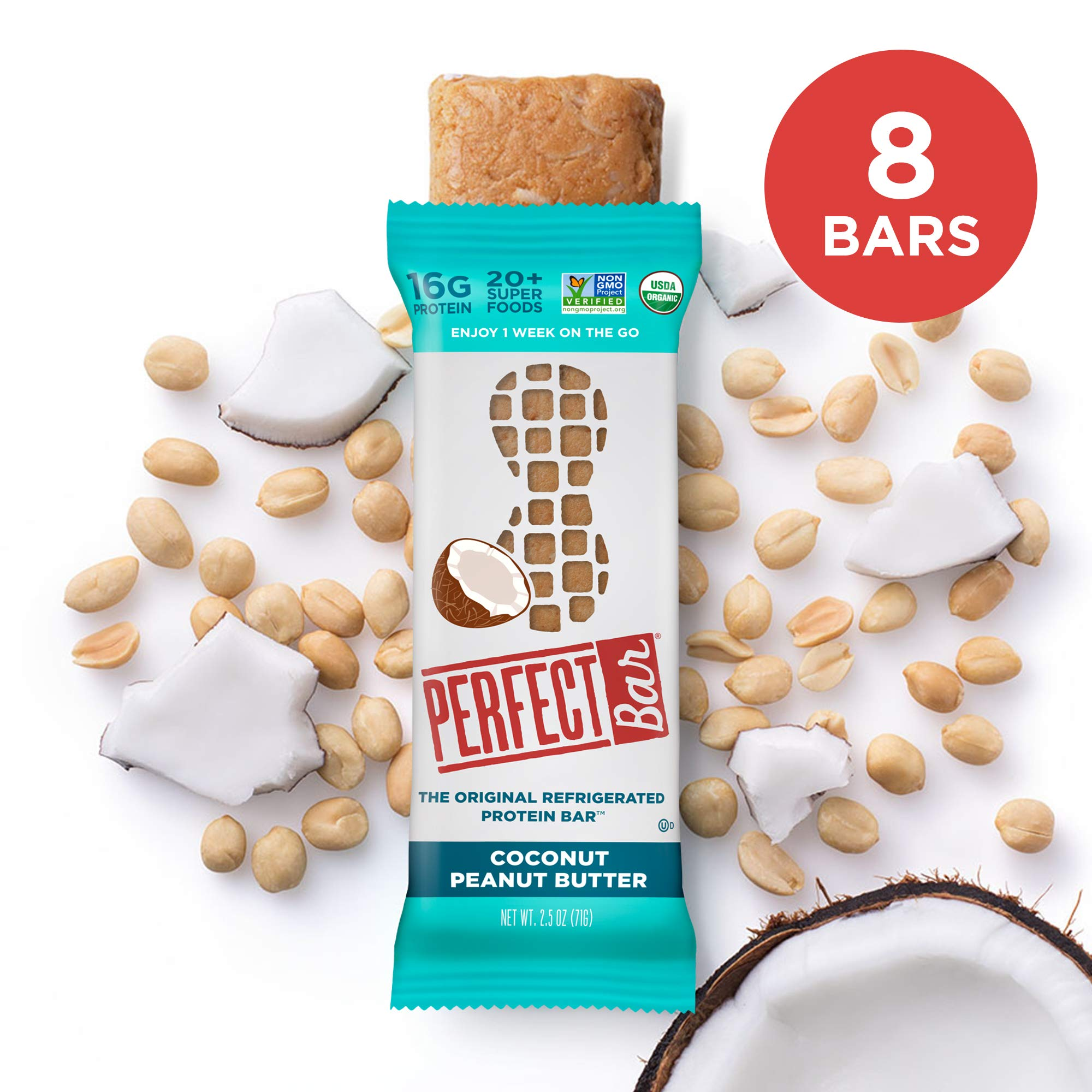 Perfect Bar Original Refrigerated Protein Bar, Coconut Peanut Butter, 2.5 Ounce Bar, 8 Count