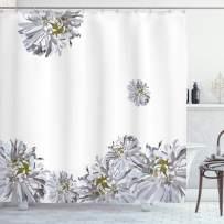 "Ambesonne Dahlia Flower Shower Curtain, Flourishing Summertime Fusion Poppy Chamomile Purity of Habitat Art, Cloth Fabric Bathroom Decor Set with Hooks, 84"" Long Extra, Grey Mustard"
