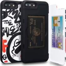 TORU CX PRO iPhone 8 Plus Wallet Case Pattern Colorful with Hidden Credit Card Holder ID Slot Hard Cover & Mirror for iPhone 8 Plus/iPhone 7 Plus - Graffiti