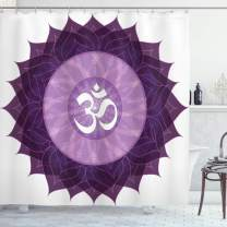 """Ambesonne Chakra Shower Curtain, Circular Lace Like Point Form with Lettering The in Node Centre Meditation Image, Cloth Fabric Bathroom Decor Set with Hooks, 84"""" Long Extra, Purple"""