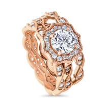 BERRICLE Rose Gold Plated Sterling Silver Round Cubic Zirconia CZ Art Deco Halo Milgrain Engagement Wedding Ring Set 1.96 CTW