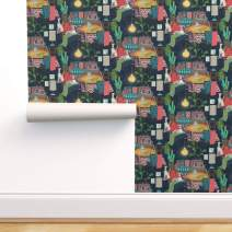 Spoonflower Pre-Pasted Removable Wallpaper, Kilim Bohemian Eclectic Dog Italian Greyhound Print, Water-Activated Wallpaper, 24in x 144in Roll