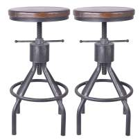 Diwhy Industrial Vintage Bar Stool,Kitchen Counter Height Adjustable Pipe Stool,Cast Iron Stool,Swivel Bar Stool,Solid Wood and Silver Metal Stool,Easy Installation,Fully Welded Set of 2