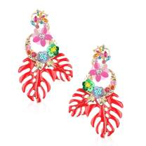 Statement Flower Earrings Gifts for Women Lady Wife Yourself with Colorful Rhinestone and Drop Dangle Handmade Earring Jewelry Fashion Present with Gift Box