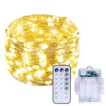 UNIFUN String Lights, 39.37ft 120 LEDs Christmas Lights Waterproof Battery Operated Fairy Lights with RF Control Dimmable Festival Decorative Lights for Patio, Garden, Bedr(Warm White)