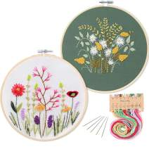 2 Pack Embroidery Starter Kit with Pattern, Kissbuty Full Range of Stamped Embroidery Kit Including Embroidery Cloth with Pattern, Bamboo Embroidery Hoop, Color Threads and Tools Kit(Floral and Daisy)