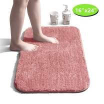 "Bathroom Rug Non Slip Bath Mat for Bathroom Water Absorbent Soft Microfiber Shaggy Bathroom Mat Machine Washable Bath Rug for Bathroom Thick Plush Rugs for Shower - Pink, 16""x24"""