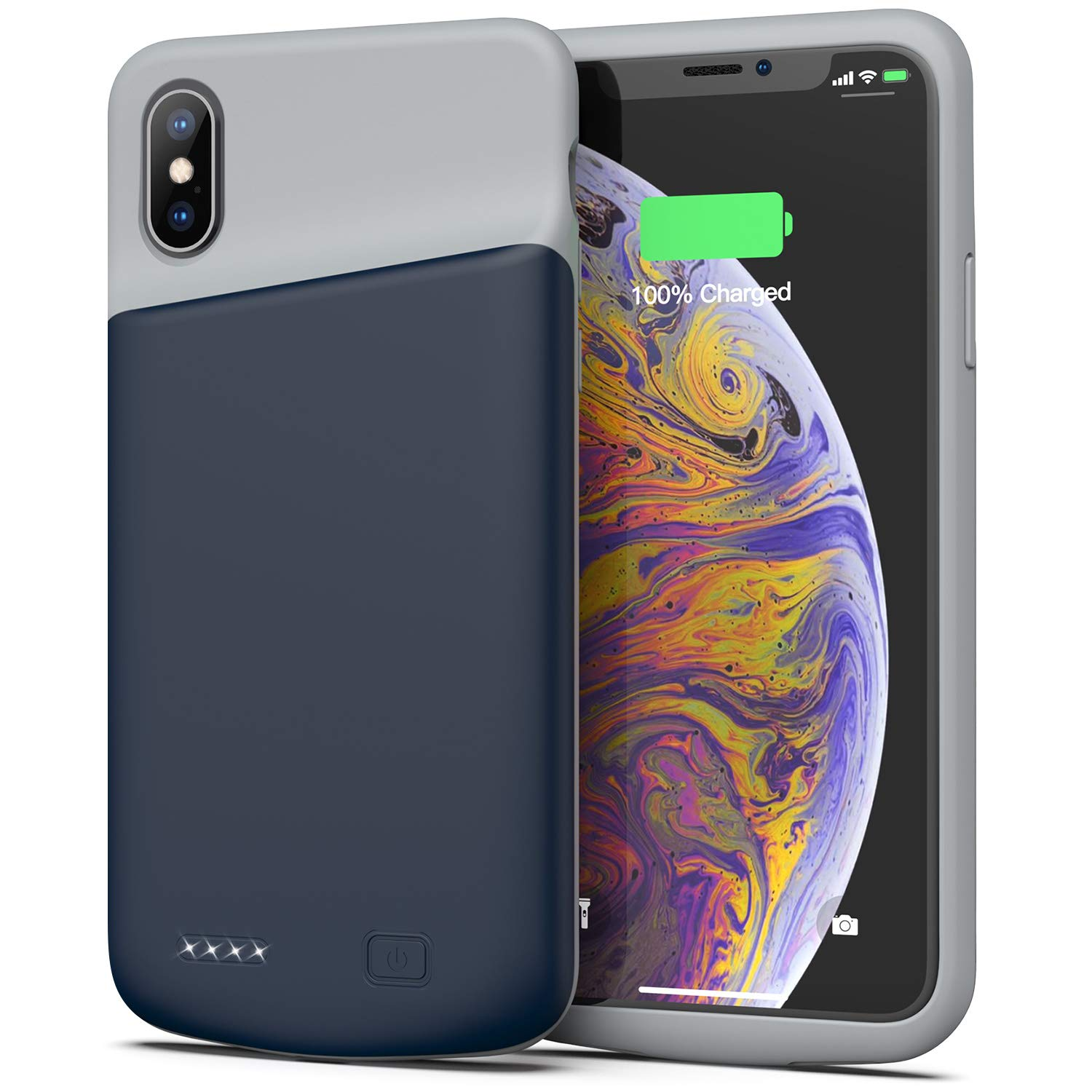 Swaller Battery Case for iPhone X/XS, 4000mAh Ultra Slim Protective Charging Case Rechargeable Extended Battery Pack for 5.8 inch iPhone X/XS (Blue)