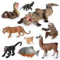 Volnau Animal Figurines Toys 9PCS South America Figures Zoo Pack for Toddlers Kids Christmas Birthday Gift Preschool Educational Rainforest Jungle Forest Animals Sets