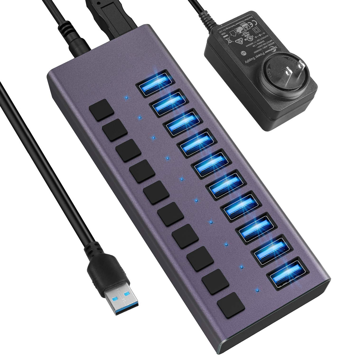 USB 3.0 Hub-10 Ports Powered USB Hub 60W USB Charging Hub with Individual On/Off Switches and 12V/4A Power Adapter and Light for PC, Laptop, Computer, Mobile HDD, Flash Drive and More(Purple)