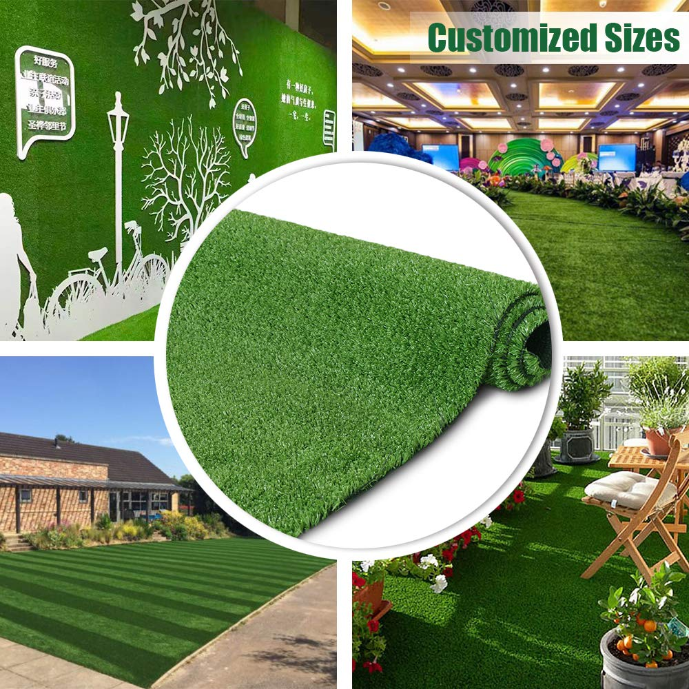 Synthetic Artificial Grass Turf 5FTX10FT Indoor Outdoor Balcony Garden Decor, Drainage Holes Faux Grass Rug Carpet for Pets