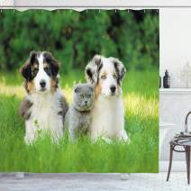 """Ambesonne Dog Shower Curtain, Pets Puppy Family in The Garden Australian Shepherds and a Cat Scenery, Cloth Fabric Bathroom Decor Set with Hooks, 70"""" Long, Fern Green"""