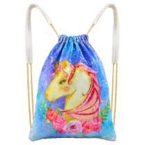 Basumee Unicorn Mermaid Sequin Bag Reversible Sequins Drawstring Backpacks, Flower Unicorn