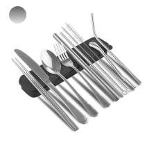 Aoliy Reusable Stainless Steel Flatware Set Portable Utensils Travel Cutlery Set 10-Piece Including Knife Folk Spoon Chopsticks Straws Cleaning Brushes for Camping Office or School Lunch(silver)