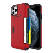 PATCHWORKS iPhone 11 Pro Max Case [Level Wallet Series] Rugged Hybrid Shockproof Dual Layer TPU + PC Case [Military Grade Drop Test Certified] [Wireless Charging Compatible], Red