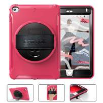 BATYUE iPad Mini 4 Case for Kids, iPad Mini 5 Case with Built-in Kickstand + 360° Rotating Hand Strap, 3 Layer Hybrid Shockproof Rugged Protective Case for iPad Mini 5th/4th Generation Case (Rose Red)
