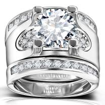 3 PCS Round Cut CZ Bridal Sets - 5.56 Ct Cubic Zirconia Silver Color Promise Engagement Wedding Rings Set for Women