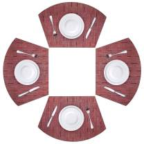 Viomir Round Table Placemats Wedge Placemats Set of 4 Heat Resistant Table Mats Washable (Red)