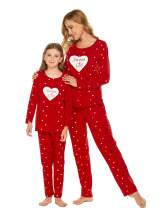 Ekouaer Family Pajamas Cotton Matching Jammies for Women and Girls Cute Cartoon Printed Pjs Holiday Sleepwear