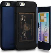 TORU CX PRO iPhone 6S Wallet Case Blue with Hidden Credit Card Holder ID Slot Hard Cover & Mirror for iPhone 6 / iPhone 6S - Navy Blue