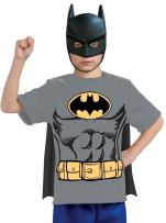 Rubie's Justice League Child's Batman T-Shirt with Mask and Removable Cape, Large