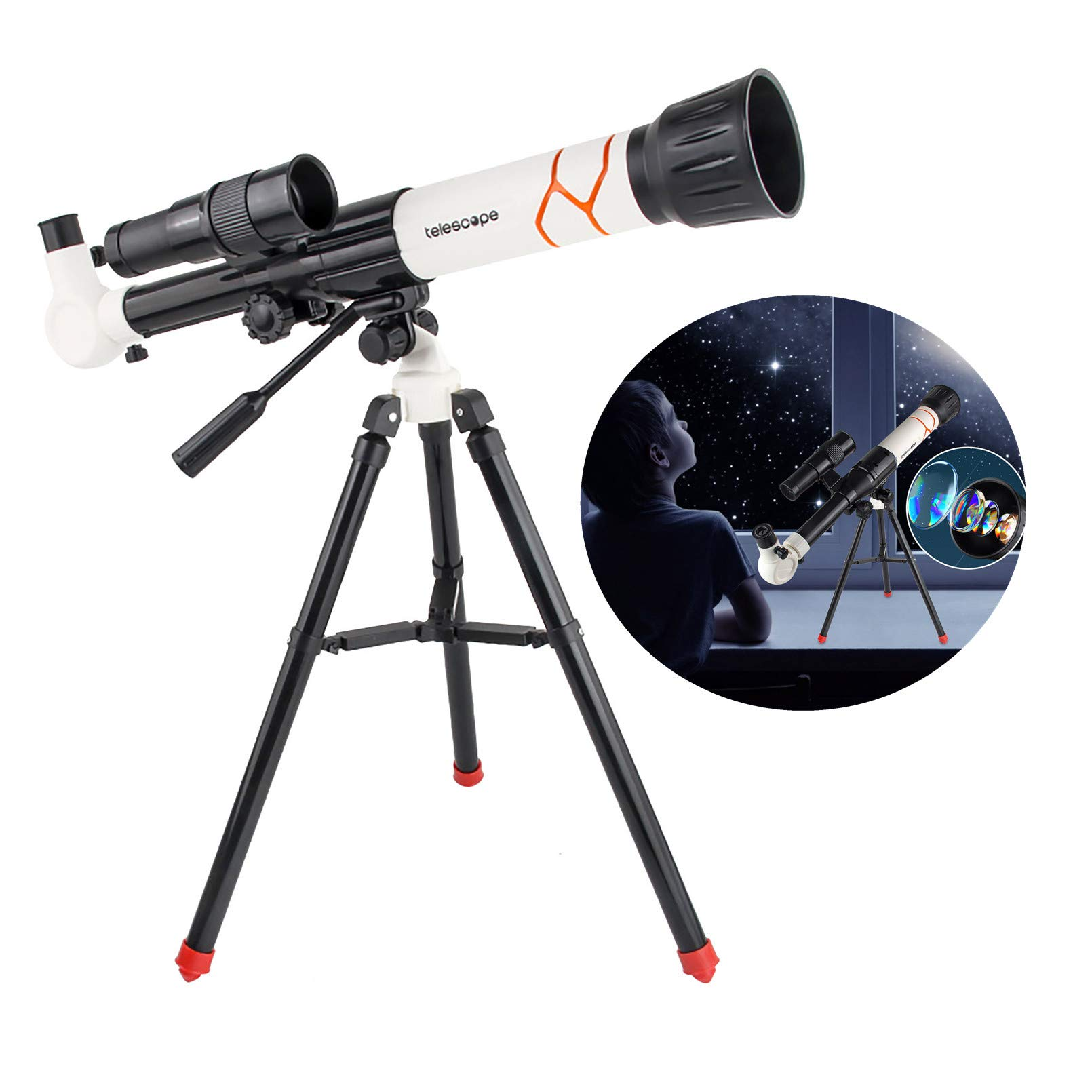 High-Powered Monocular Astronomical Telescope for Kids & Astronomy Beginners, Portable Travel Astronomical Refractor Telescope with Tripod, 3 Eyepieces, & Finder Scope (White)