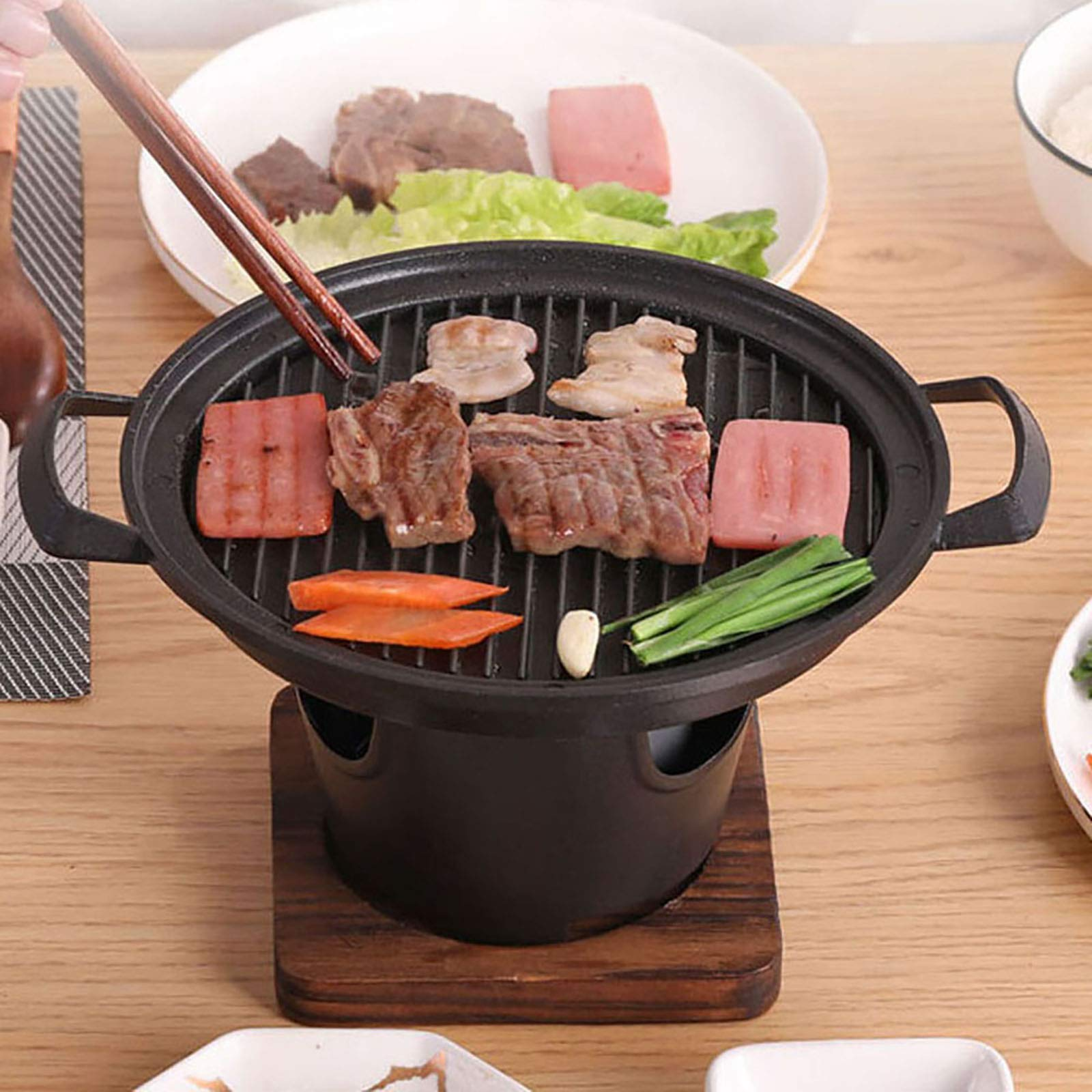 BBQ Alcohol Stove Cast Iron Mini Grill Single Serving Roasting Pans Japanese Style Sukiyaki Pan Household Hibachi Grill Stove with Wooden Base and Fuel Holder